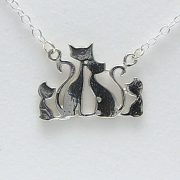 Cat Family with 2 kittens Necklace by Artist Lori Strickland for Lucina K