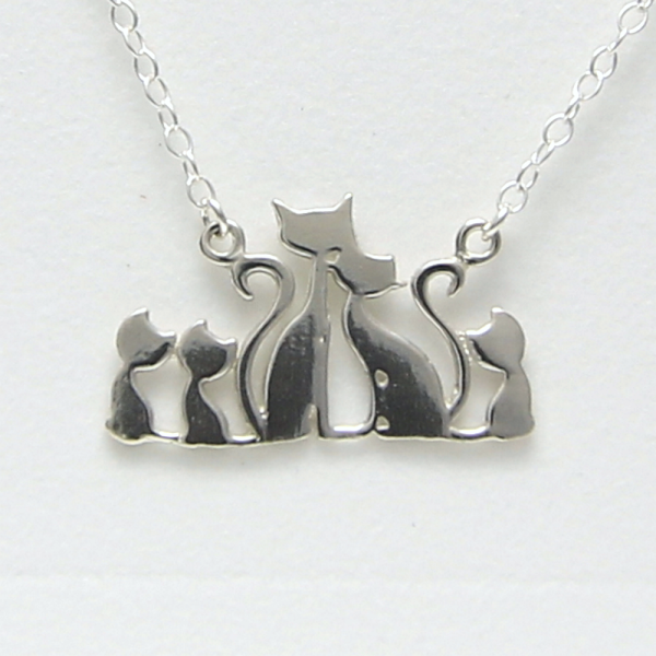 Cat Family with 3 kittens Necklace by Artist Lori Strickland for Lucina K