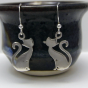Sterling Silver Cat Silhouette earring by Lori Strickland of Lucina K.