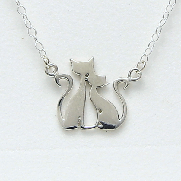 Sterling Silver Cat Family Necklace by Artist Lori Strickland for Lucina K