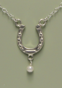 Lucky Horseshoe Necklace with Pearl