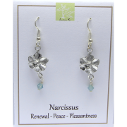 Narcissus Flower earrings in pewter by Lucina K.