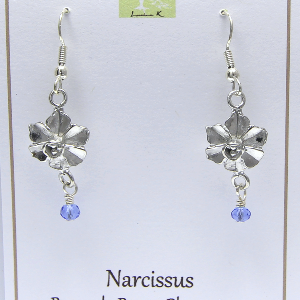 Pewter Narcissus Earrings by Lucina K.