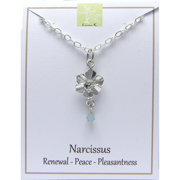 Pewter Narcissus Flower Necklace by Lucina K.