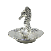 Seahorse in Shell Ring Holder in Pewter