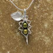 2 Peas in a Pod Sterling Necklace by Lucina K.