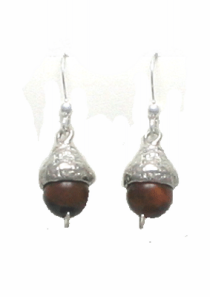 Acorn Earrings Sterling and Tigers Eye