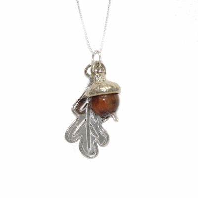Acorn Leaf Necklace Sterling and Tigers Eye