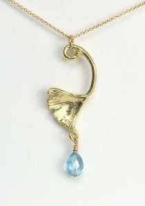 Ginkgo Leaf Necklace with Hope Stone