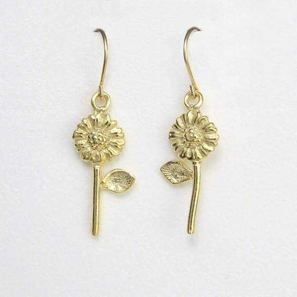 Sunflower Earrings vermeil