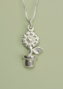 Sunflower in Pot Necklace