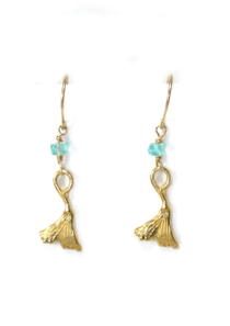 Ginkgo Leaf Earrings with Hope Stone