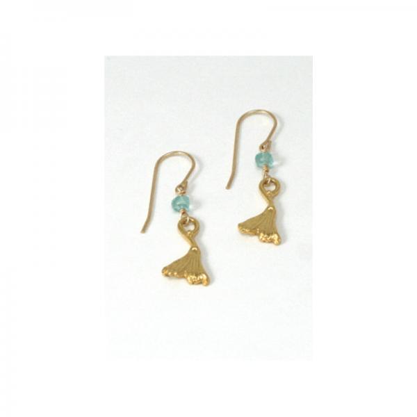 Ginkgo Leaf Earrings with Hope Stone