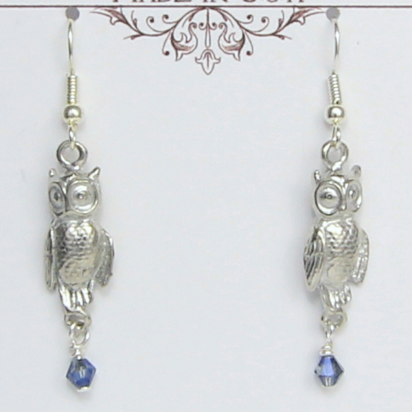 Owl Earrings or Necklace Pewter