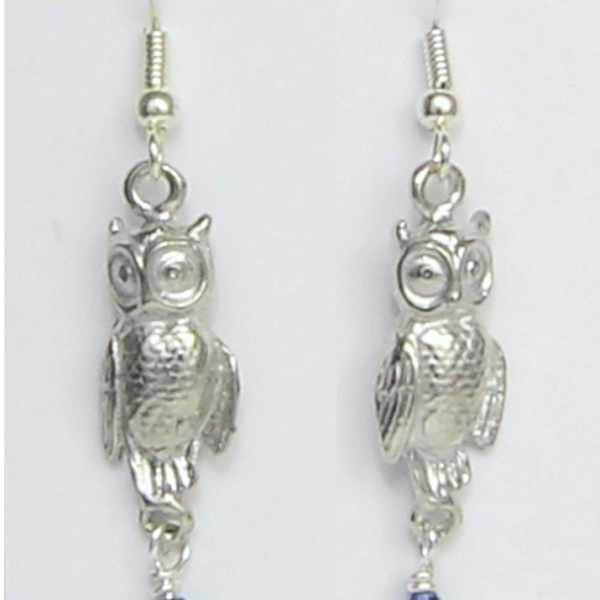 Owl Earrings or Necklace Pewter - Lucina K.