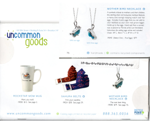 Press/Featured Work - Lucina K. Mother Bird Necklace in Uncommon Goods Catalog
