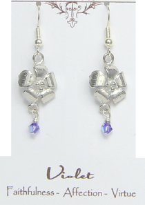 Violet Flower Earrings Pewter February Flower
