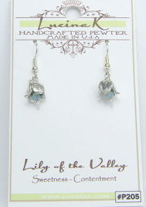 Lily of the Valley Earrings Pewter May Flower