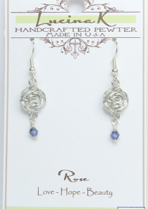 Rose Earrings Pewter June Flower