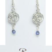Beauty and the Beast Belle Rose Flower Earrings Pewter