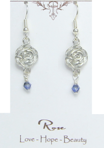 Beauty and the Beast Belle Rose Flower Earrings Pewter