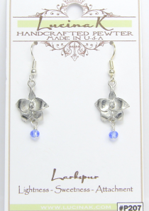 Larkspur Flower Earrings Pewter July Flower