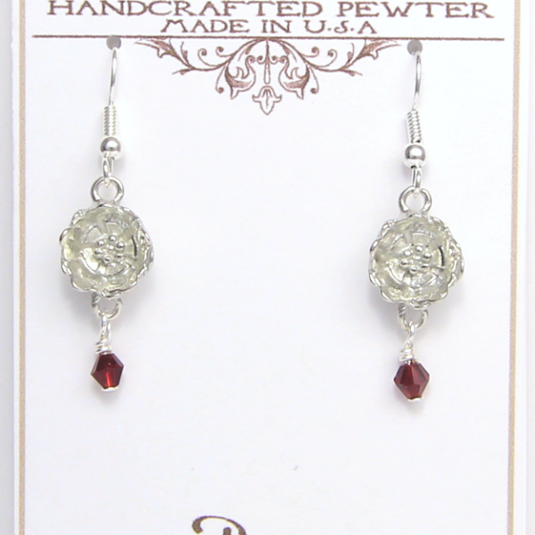 Poppy Earrings Pewter August Flower