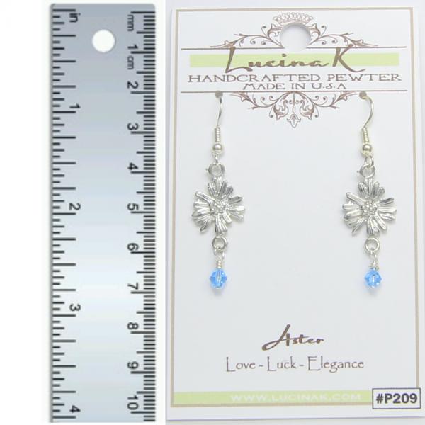 Aster Flower Earrings Pewter September Flower - Lucina K.