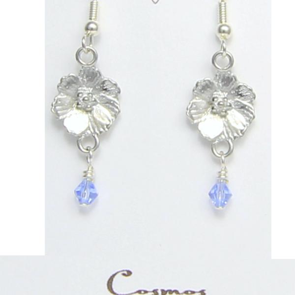 Cosmos Flower Earrings Pewter October Flower - Lucina K.