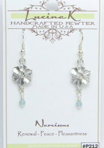 Narcissus Flower Earrings Pewter December Flower