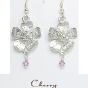 Cherry Blossom Earrings Pewter