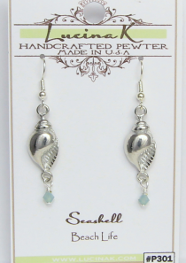Seashell Earrings Pewter