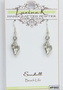 Seashell Earrings Small Conch Pewter