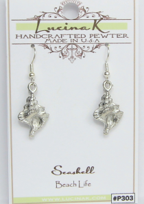 Seashell Earrings Conch Pewter