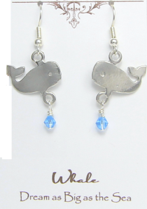 Whale Earrings Pewter Dream Big