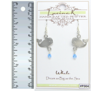 Whale Earrings Pewter Dream Big