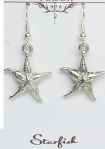 Starfish Earrings Pewter