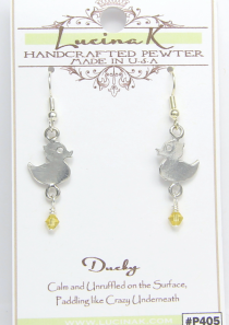Ducky Earrings Pewter