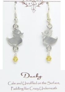 Ducky Earrings Pewter
