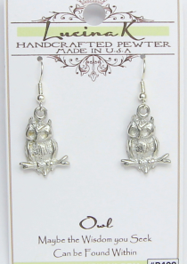 Branch Owl Earrings Pewter