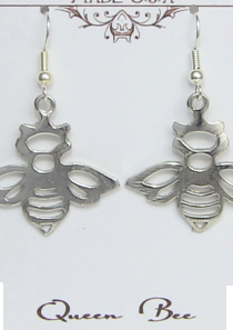 Queen Bee Earrings Pewter