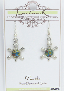 Millefiori Turtle Earrings Pewter