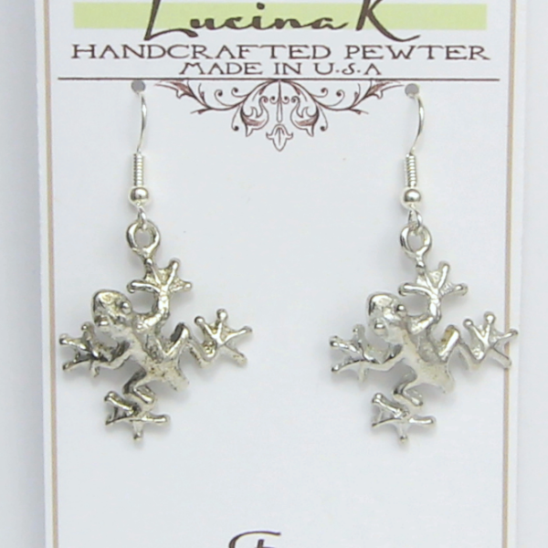 Large Frog Earrings Pewter - Lucina K.