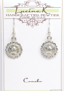 Pierced Concho Earrings Pewter