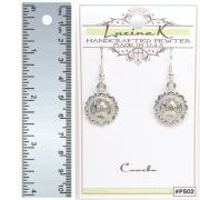 Pierced Concho Earrings Pewter
