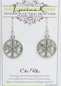 Chi Rho Christogram Earrings Pewter