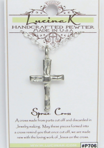 Sprue Cross Necklace Pewter