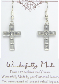 Wonderfully Made Cross Earrings Pewter