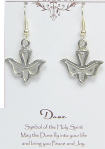 Holy Spirit Dove Earrings Pewter