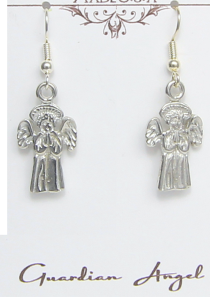 Guardian Angel Earrings Pewter